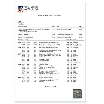 student transcript